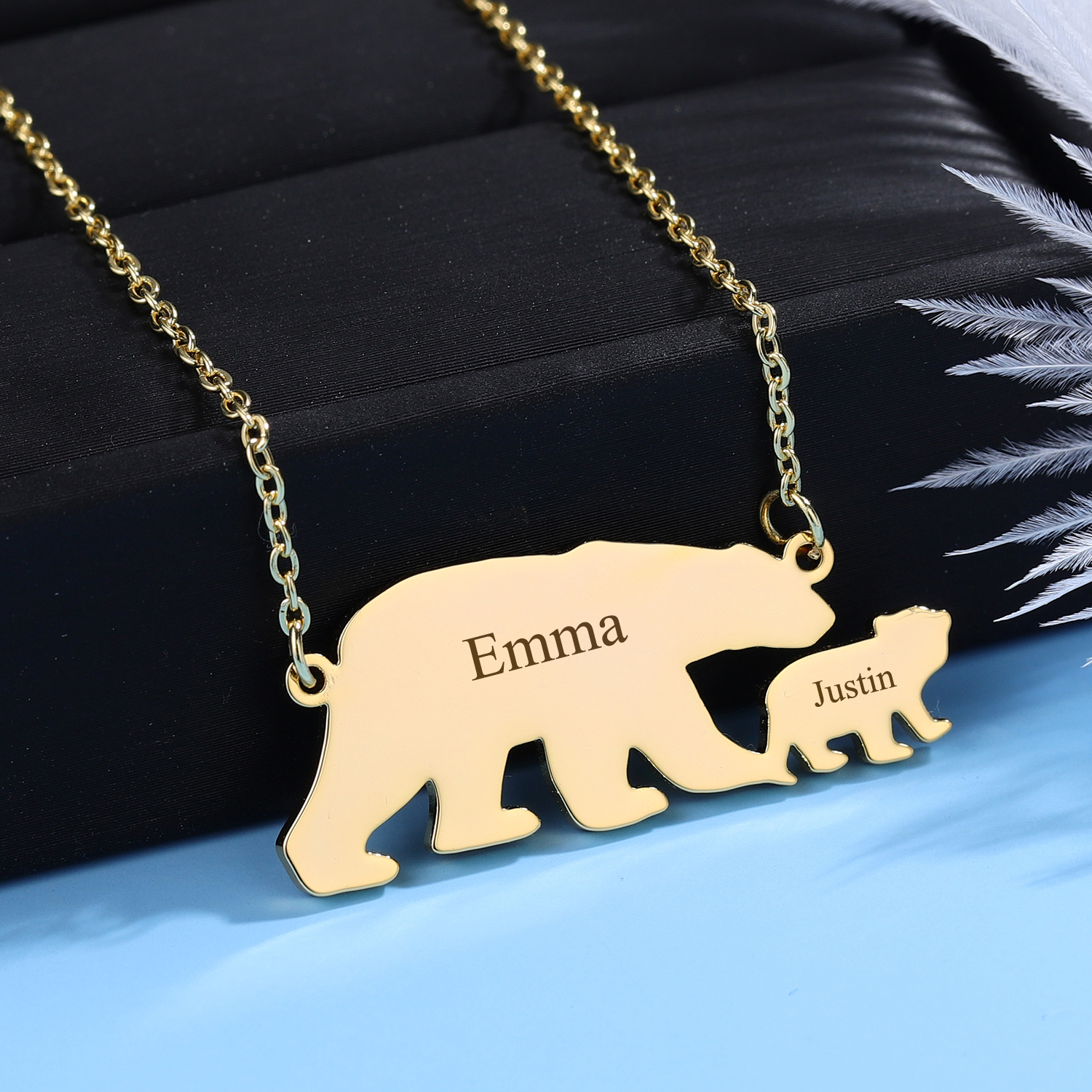 Personalised name necklace mama baby bear sterling silver mother/'s day PoshTags