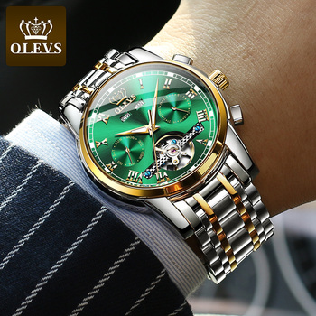 OLEVS Automatic Mechanical Men Watches Stainless Steel Waterproof Date Week Green Fashio Classic Wrist Watches Reloj Hombre 3