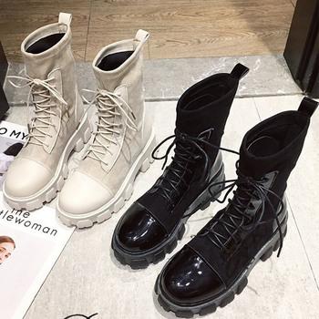 Buty damskie czarne skarpety buty 2020 nowe Punk Gothic damskie buty do kostki platformy buty damskie białe skarpety buty fajne panie tanie i dobre opinie KHTAA Mieszkanie z Podstawowe CN (pochodzenie) ANKLE Platforma Stałe HFD5770 hfd5815 NONE Szpiczasty nosek Wiosna jesień