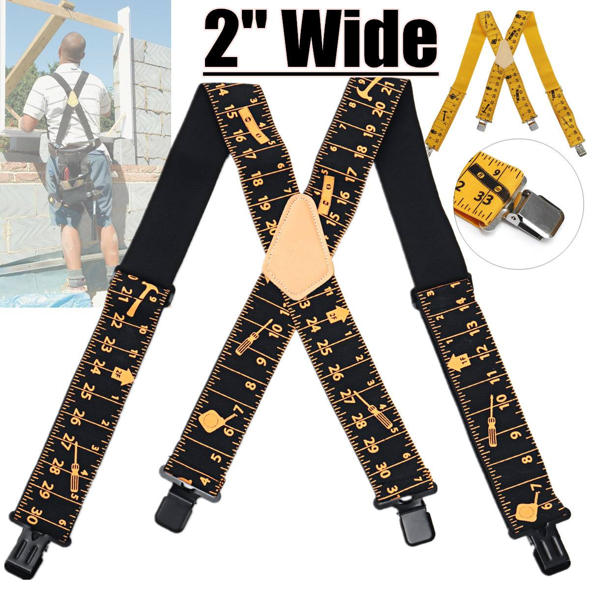 2020 Ruler Design Men Suspenders Adjustable X Shaped 4 Clips Tool Belt Elastic Suspenders Men Trousers Men's Suspenders 120cm