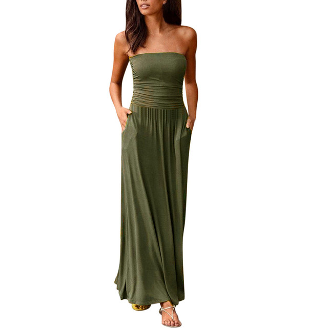 Dress Women's Tube Top Dresses Off Shoulder Long Dresses Ladies Summer Solid Maxi Dress Bandeau Holiday Vestidos Solid Jurken 1