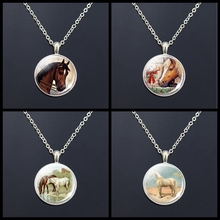 Fashion Vintage Jewelry Horse Head Tibetan Silver Sweater Chain Necklace Glass Cabochon Brown for Women Men