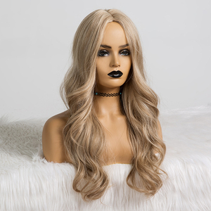 Image 2 - Long Wavy Hairstyle Synthetic Wigs Middle Part Blonde Natural Hair Wigs For Afro Women Cosplay Wigs Heat Resistant Fiber
