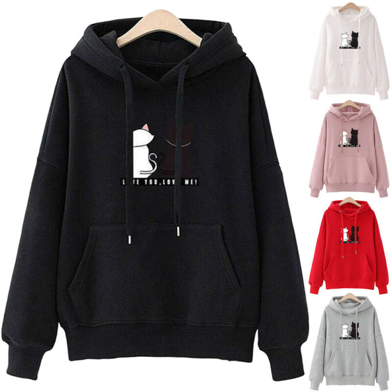 New Women Cute Cat Hoodie Casual Long Sleeve Sports Solid Pocket Loose Sweatshirt Hooded Jumper Pullover Slim Fit