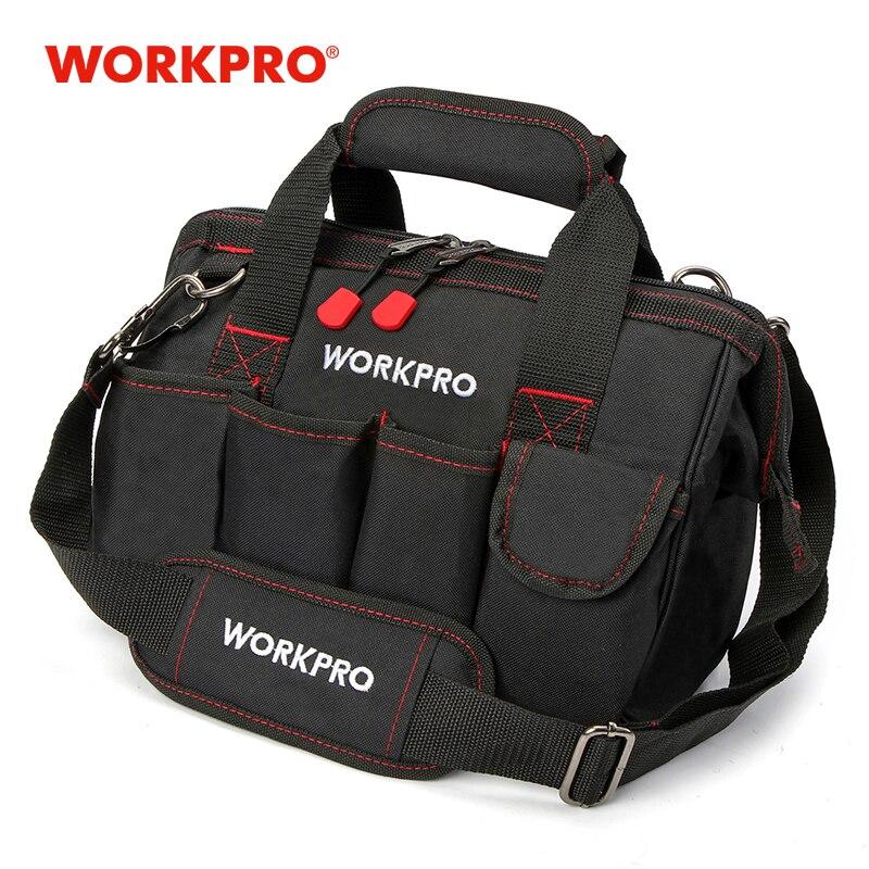Bolsa de herramientas de 12 pulgadas WORKPRO 600D bolso de hombro de electricista de poliéster bolsa de Kits de herramientas