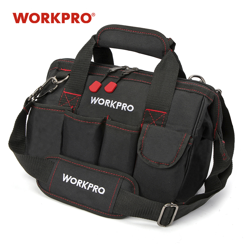 WORKPRO 12 นิ้วเครื่องมือ 600D โพลีเอสเตอร์ช่างไฟฟ้ากระเป๋าสะพายชุดเครื่องมือกระเป๋า
