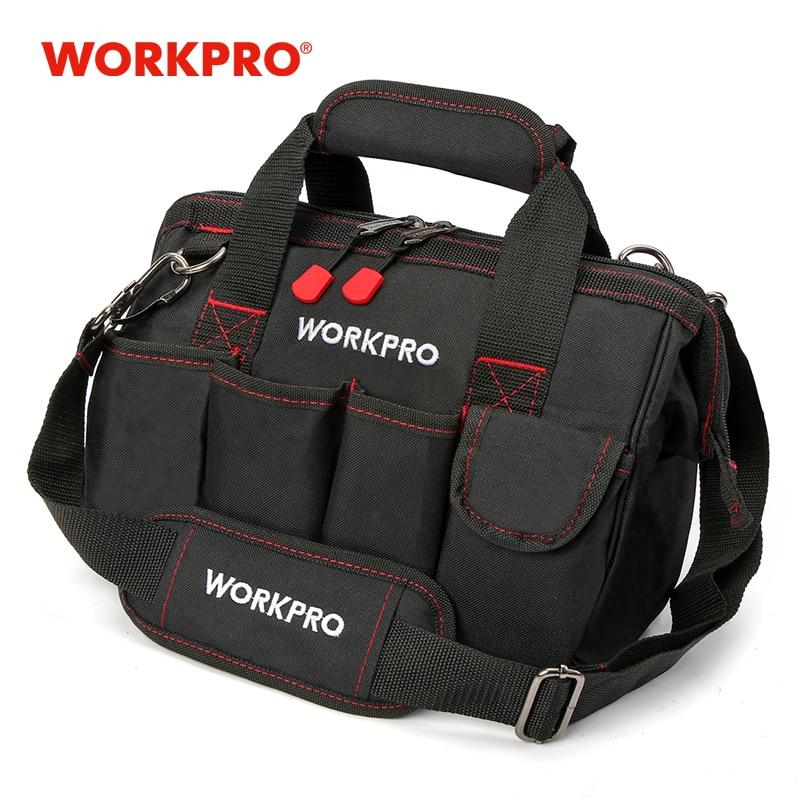 Workpro 12 Inch Tas Alat 600D Polyester Listrik Tas Bahu Alat Kit Tas