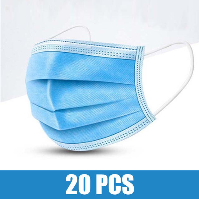20pcs Face Mouth Anti  Mask Disposable Protect 3 Layers Filter Dustproof Earloop Non Woven Mouth Masks 48 Hours Shipping