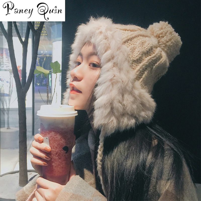 Rabbit Fur Hat For Women Fluffy Earflap Ear Caps Skiing Ear Protection Ball Headgear Warm Beanies Knit Hat Fur Bomber HAT Women
