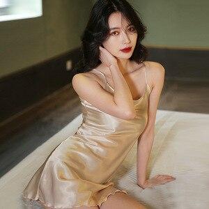 Image 3 - Robe de nuit pour femme, vêtements de nuit, ceinture, Simulation, robe de couchage pour la maison, vêtements de nuit Sexy