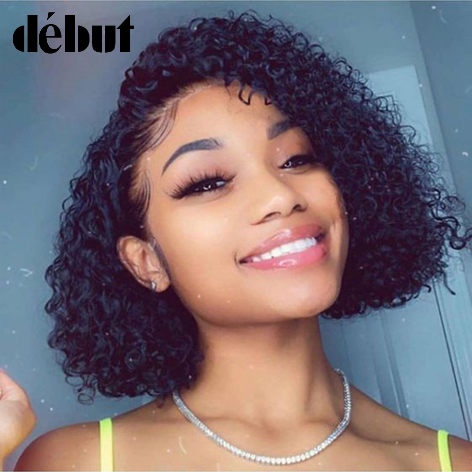 Debut Lace Frontal Short Curly Bob Wigs Natural Black Brazilian Remy Human Hair Wigs Fast Shipping