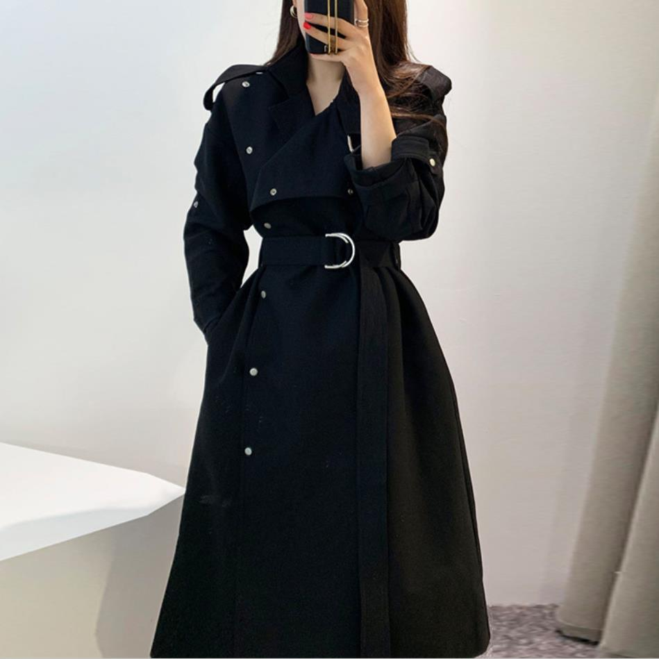 2019 autumn fahsion single breasted belted   trench   coat women turn down collar slim Windbreaker coat