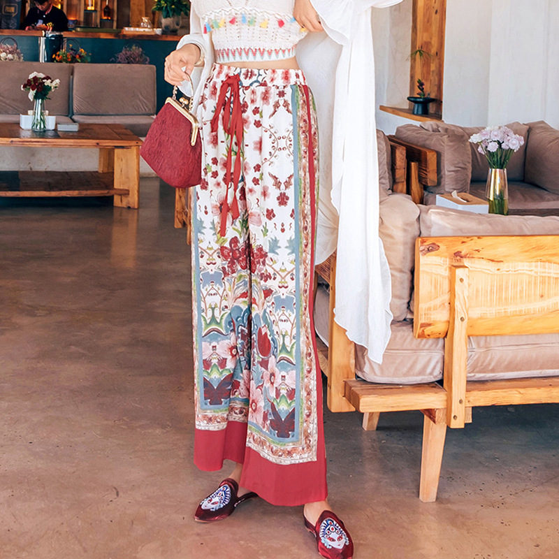 Thailand Bali Seaside Holiday Beach Trousers Bohemian Printed High-waisted Loose Pants Retro National Wind