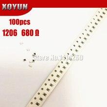 100PCS 1206 SMD Resistor 1% 680 ohm chip resistor 0.25W 1/4W 680R 681