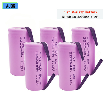 Barato AJQQ Sc 1,2 V 3200mAh, batería recargable 4/5 SC Sub C ni-cd, célula con tabletas de soldadura para destornillador de taladro eléctrico