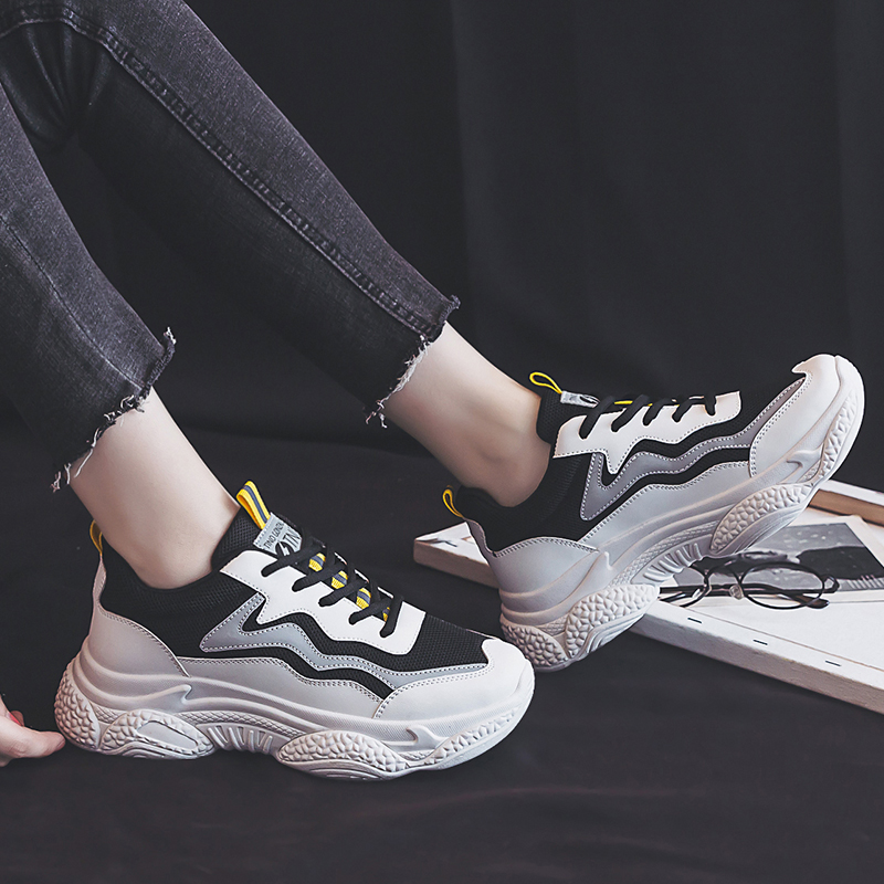 Черные кроссовки; женская модная Вулканизированная обувь; женские дизайнерские кроссовки на платформе; женские кроссовки на шнуровке; сезо...