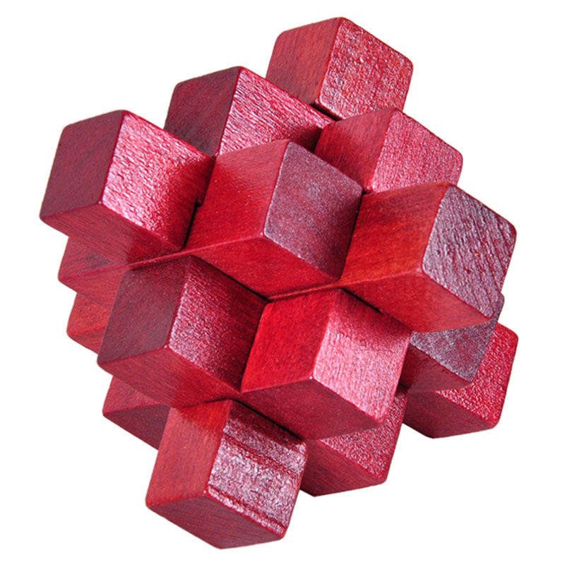 Wooden Red Nine Pass Lock Logic Puzzle Burr Puzzles Brain Teaser Intellectual Assembly Toy