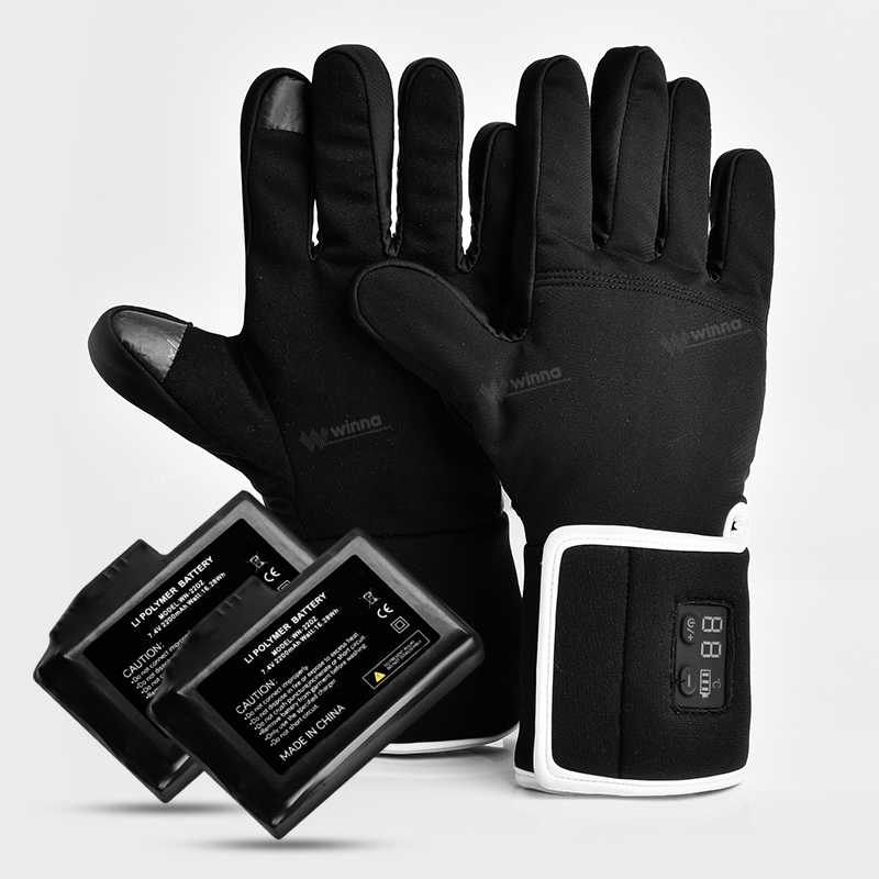 7.4V 2200mAh Electric Battery Heated Gloves Temperature Smart Control Winter Thermal Gloves For Outdoor Skiing Cycling Hunting