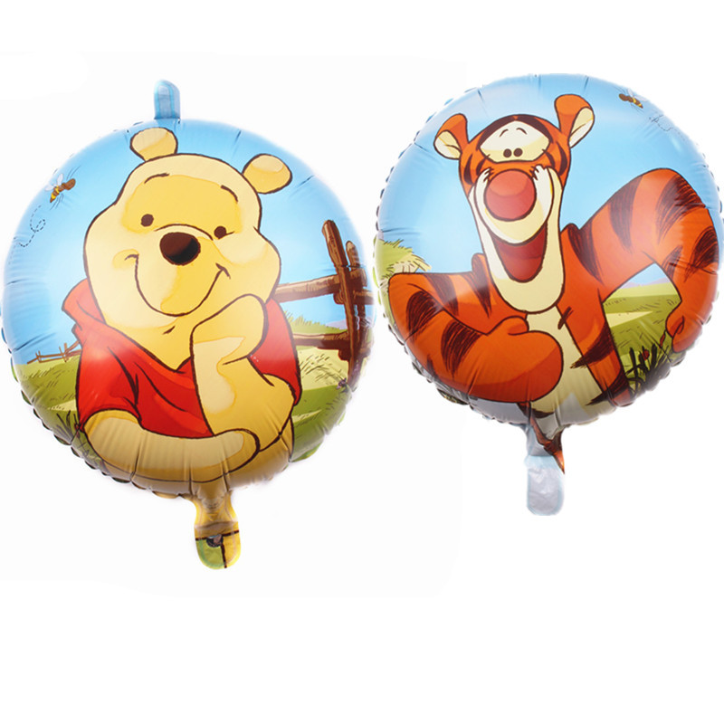 1pcs Disney Winnie The Pooh Theme 18 inch Aluminum Double-sided Film Balloon Cartoon Kids Birthday Party Decorations Supplies image