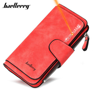 2020 Women Wallets Name Engrave Fashion Long Leather Top Quality Card Holder Classic Female Purse Zipper Wallet For Women