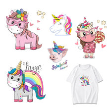 Cute Unicorn Patch Set Iron-on Transfers Parches for Clothes DIY T-shirt Applique Heat Transfer Pig Parch Stickers on Clothing H