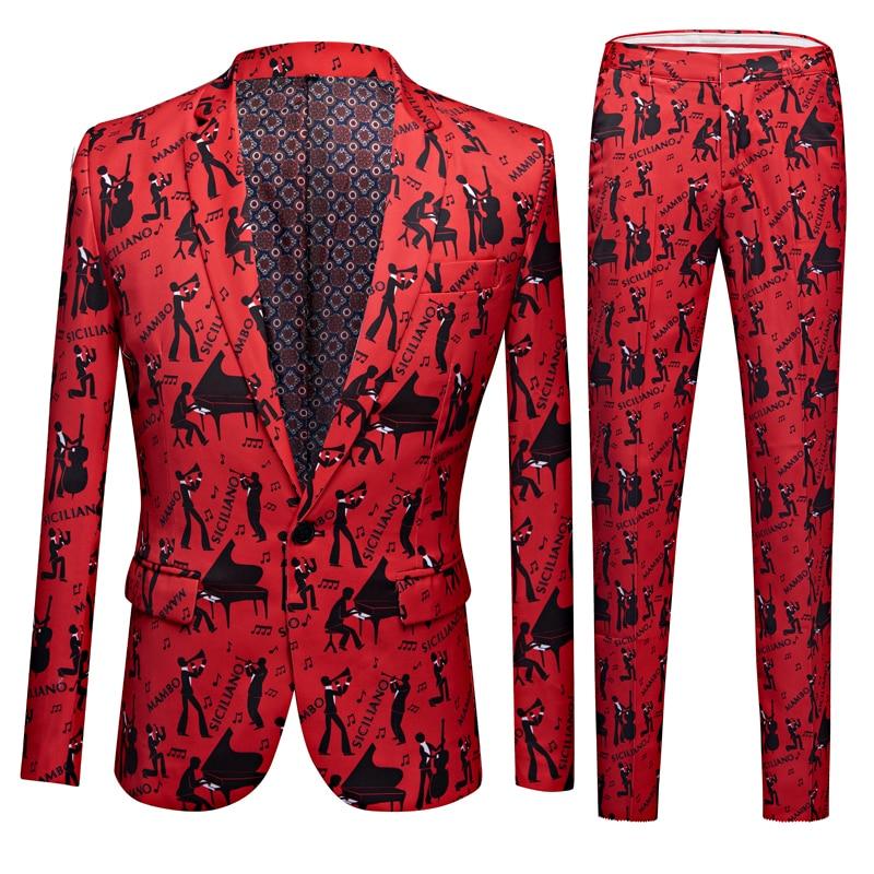 Men Floral Print 2 Pieces Set Suits Club Bar Evening Party Stage Singer Costume Slim Fit Jacket And Pants