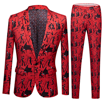 цена Men Floral Print 2 Pieces Set Suits Club Bar Evening Party Stage Singer Costume Slim Fit Jacket and Pants онлайн в 2017 году