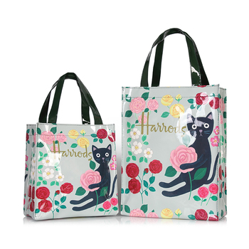London Style PVC Reusable Shopping Bag Women's Bag Eco Friendly Flower Shopper Bag Waterproof Handbag Lunch Tote Shoulder Bag