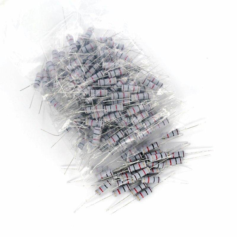 20 шт. 3 Вт карбоновый пленочный резистор 5% 1R ~ 1M 1R 4.7R 10R 22R 33R 47R 1K 4,7 K 10K 100K 10 22 33 47 4K7 Ом, устойчивость к оксидной пленке