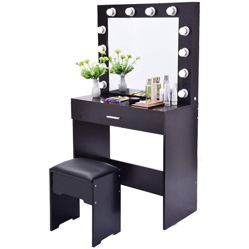 K-STAR Set With Lighted Mirror Cushioned Stool Simple Dresser Small Apartment Dedicated Makeup Table IN STOCK