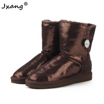 JXANG botas de nieve clásicas australianas para mujeres 100% botas de invierno auténticas de piel de vaca abrigadas zapatos de mujer con hebilla de diamante de cristal