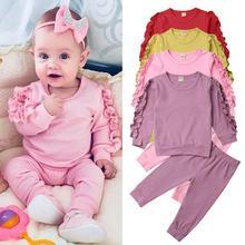 Newborn Autumn Winter Clothing Baby Girls Sleep Clothes Set Ruffle Long Sleeve Sweatshirt T Shirt Pants 2Pcs Outfits Sleepers