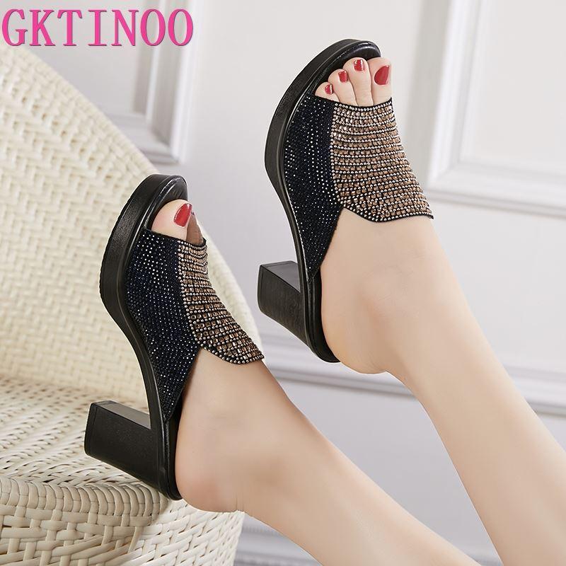 GKTINOO Women Slipper's 2020 Ladies Summer Slippers Shoes Women High Heels Fashion Rhinestone Genuine Leather Summer Shoes