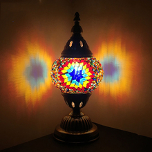 EU UK AU US Plug In Turkish Mosaic Table Lamps for the Bedroom Bedside Colorful Glass