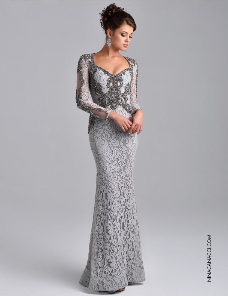 Elegant Vestido De Noiva Long Sleeve Formal Full Beaded Lace Sheath Long Evening Party Gown 2015 Mother Of The Bride Dresses