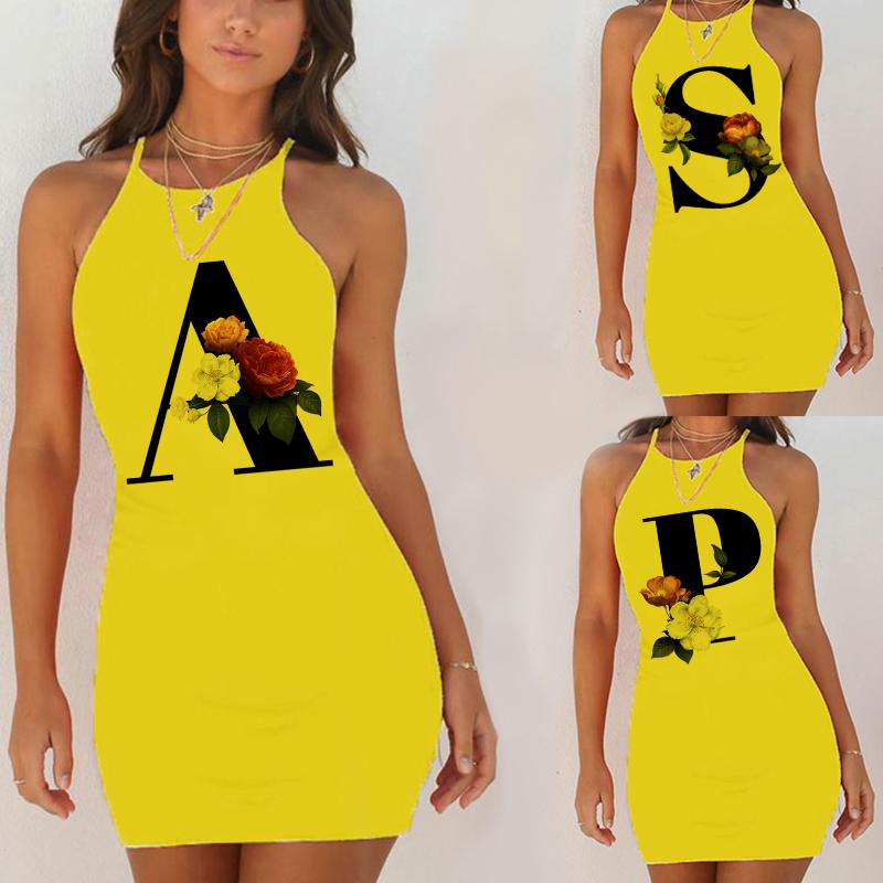 Sexy Nightwear Sleepwear Nightgown Night Shirts Summer Women 26 English Alphabet Print Pack Hip Nightie Yellow Night Dress