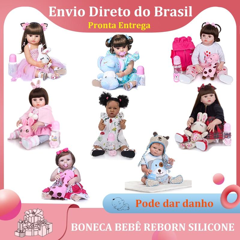 Boneca Reborn Bebê 100% Siliconen Princesa Rosa 48Cm