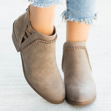 Ankle Boots Women Shoes zapatos de mujer Thick Heels Pointed Toes botas chaussures femme Winter feminina