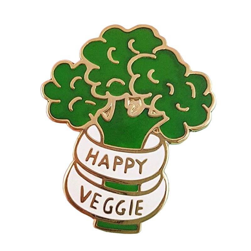 Feliz Veggie Esmalte Broche de Pino Crachá de Brócolis Comida Vegan Vegetariano Pefect Presente