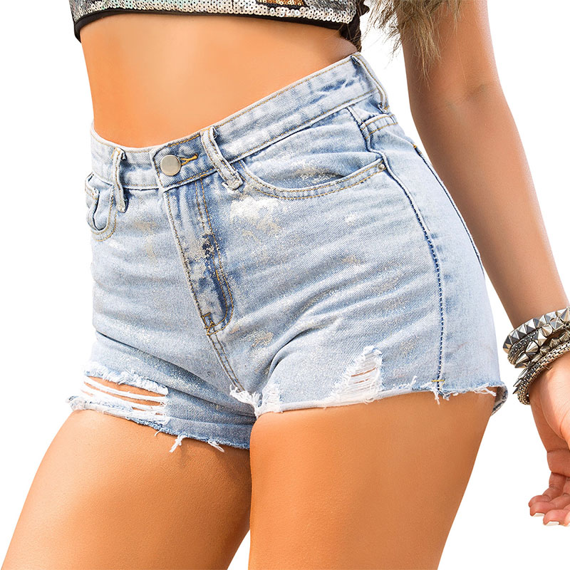 Sexy Jean Shorts Women Summer Casual Hotpants Sparkly Sequin Glitter Reflective Denim Shorts Purple Club Party Shorts Plus Size