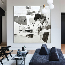 Wholesale High Quality Abstract Grey and White Colors Oil Painting On Canvas Wall Picture Handmade Paintings
