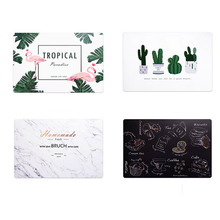 4 Pack Washable Placemats, Plastic Table Mats Heat Resistant Placemats Cactus Non-Slip Dining Mats for Table, 17.7 X 11.8 Inches