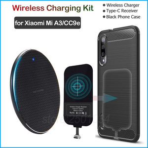 Image 1 - Wireless Charging for Xiaomi Mi A3 /Mi CC9e Qi Wireless Charger+USB Type C Receiver Adapter Gift Soft TPU Case for Xiaomi Mi A3