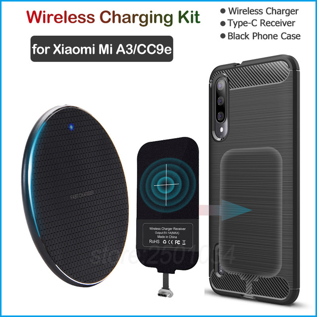 Wireless Charging for Xiaomi Mi A3 /Mi CC9e Qi Wireless Charger+USB Type C Receiver Adapter Gift Soft TPU Case for Xiaomi Mi A3