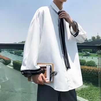 Dress Shirt Men's Fashion Social Men Shirt Gray Black White Tie Shirt Man Streetwear Loose Long-sleeved Shirts Mens M-3XL недорого