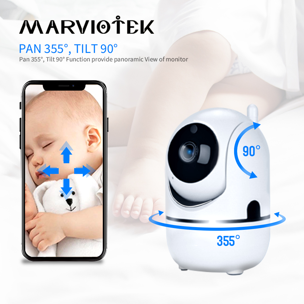 Baby Monitor Wifi Auto Tracking Mini IP Camera Wifi Cloud Storage Motion Detection Two Way Audio Home Security Baby Camera 720P