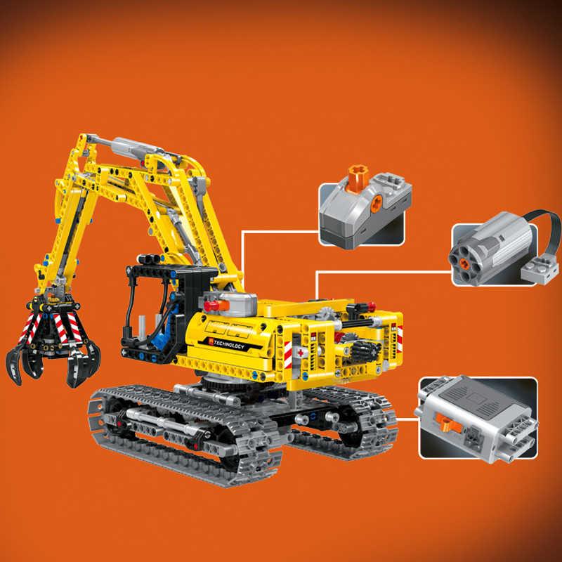 Modelo de escavadeira técnica compatível legoed cidade conjunto bloco de construção moc clássico com motores 720 peças tijolos brinquedos para presente das crianças