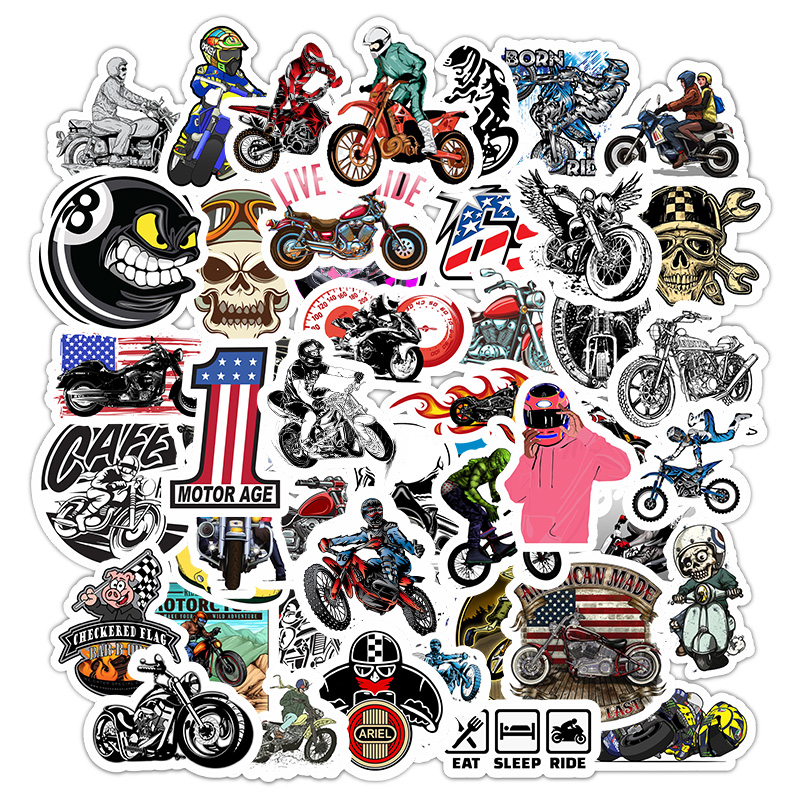 50Pcs Motorcycle Motocross Cartoon Stickers For Suitcase Skateboard Laptop Luggage Fridge Phone Car Styling Decal Sticker F5