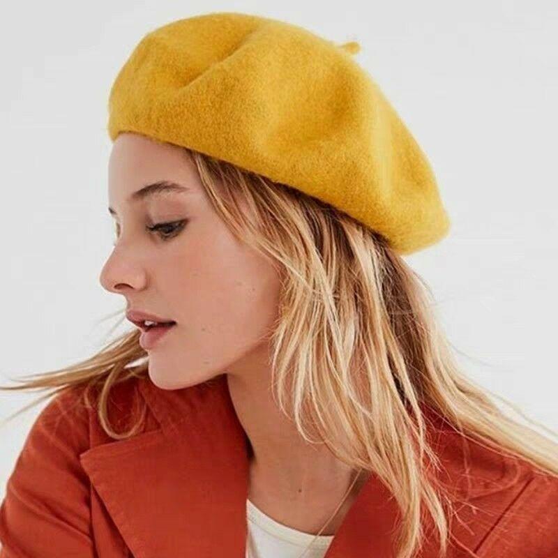 Women Ladies Winter Wool Beret French Artist Beanie Hat Solid Ski Cap Holiday Berets