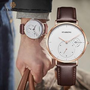Image 2 - STARKING פשוט שעונים גברים פלדה אל חלד כסף Mesh להקת שעון זכר קוורץ שעוני יד עם תאריך אוטומטי תצוגת Relogios 3ATM